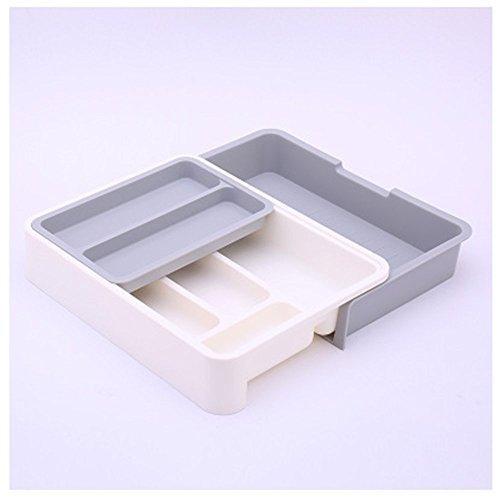 Lager Show erweiterbar/stapelbar/beweglich/verstellbar Kunststoff Besteckkasten Küchenhelfer Schublade Organizer Geschirr Halterung Besteck Store 31.5x23.5x6.3cm grau -