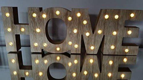 LED beleuchteter Schriftzug | HOME | Holz | 58x17 cm | batteriebetrieben