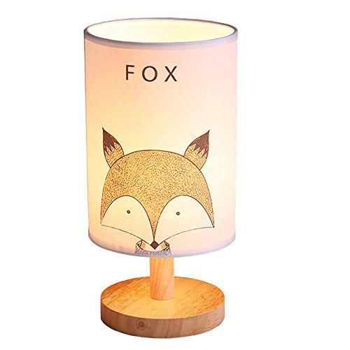SASA Modern, Nordic, minimalistisch, Adorable, Tier LED-Schreibtischlampe, LED Nachtlicht mit Fuchs, Eule, Bären Muster gedruckt auf Schirm und Fester