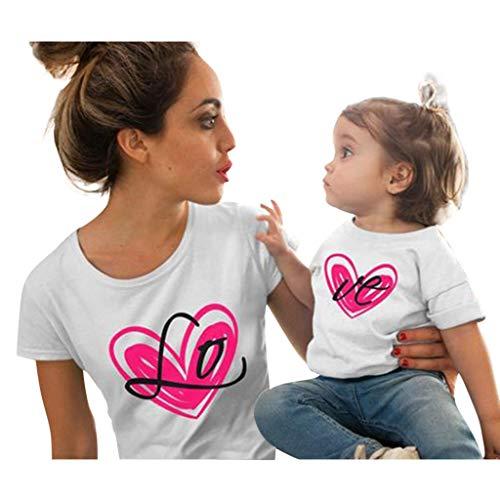 Mutter und Tochter Kleidung Love Printed Kurzarm T-Shirts Tops Bluse, bluestercool Liebe Eltern-Kind-Kleidung Damen Casual Bedruckte kurzärmelige