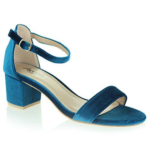 Donne Le Signore Velluto Punta Aperta Cinturino Alla Caviglia Mideo Tacco Sera Casuale Formale Festa Sandali Scarpe Taglia Blu