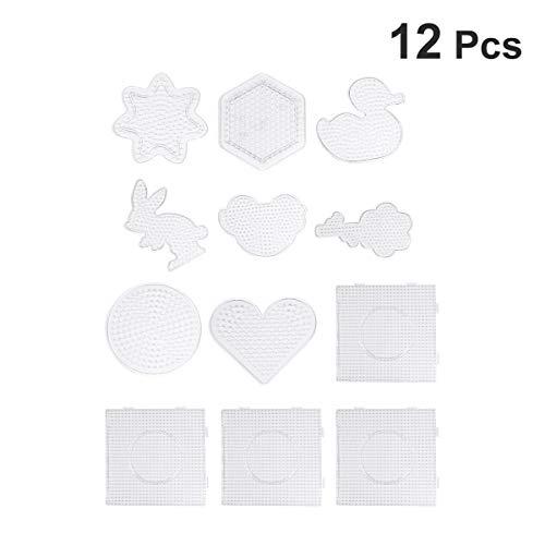 SUPVOX 12 stück Bügelperlen Stiftplatten Steckplatte Transparente Kinder Perlen Vorlagen Platten