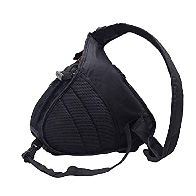 AnTeck DSLR Camera Case Bag Backpack Crossbody Daypack for Accessories for Canon Nikon Sony with Rain Cover Black improved version