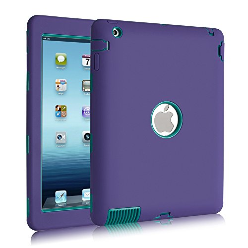 iPad 4Case, iPad 3Case, iPad 2, uzer (Heavy Duty stoßfest Anti-Rutsch Silikon High Impact Resistant Hybrid Drei Schicht Hard PC + Silikon Armor Schutzhülle für iPad 2/3/4 Purple+Teal