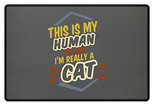 Eine Katze Ein Bin Kostüm Ich Nicht - SPIRITSHIRTSHOP This Is My Human Costume I'm Really A Cat - Das Ist Mein Menschkostüm, Ich Bin Eine Katze - Fußmatte -60x40cm-Mausgrau