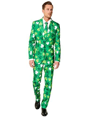 Suitmeister St. Patrick Anzüge für Herren - St. Patrick's Day Clovers - Mit Jackett, Hose und Krawatte mit Festlichen Print - L
