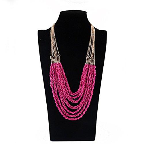 Femme Verre Collier Exagération Rétro Vêtements Pompons Mode Ornements Chaîne De La Clavicule pink