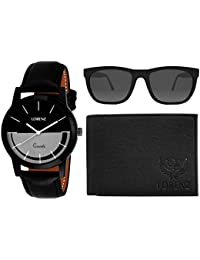 LORENZ CM-1053SN-WL-01 Combo of Men's Black Dial Analogue Watch, Black Wallet and Black Sunglasses