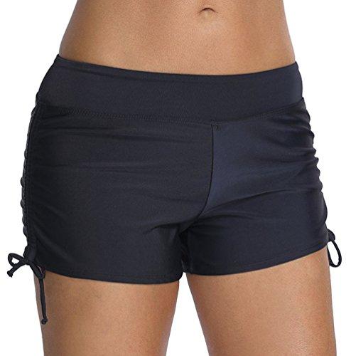 OLIPHEE Femmes Shorts de Bain Classique-Yoga, Jogging, Natation, Plage, Piscine Noir