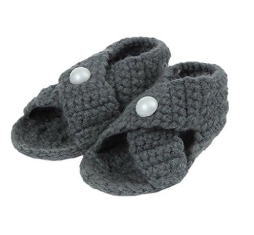 Bigood(TM) 1 Paar Strick Schuh Baby Unisex Strickschuh One Size süße Muster 11cm Schwein Blau Dinkelgrau B