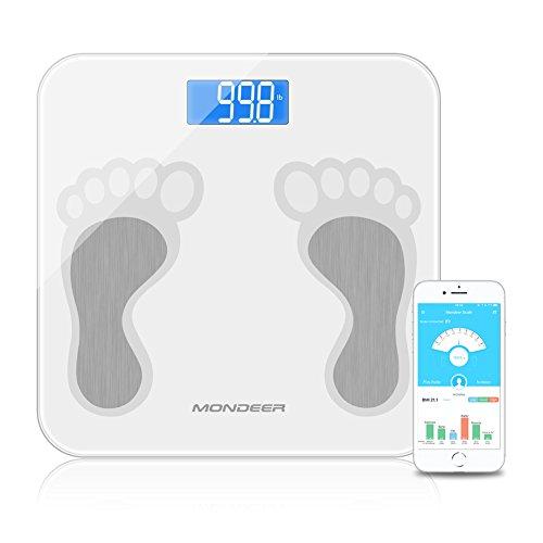 Körperfettwaage, mondeer mit Smartphone App, Smart Digitale Körperwaage für Gewicht Körperfett, Wasser, Muskelmasse, BMI-mass bathroom