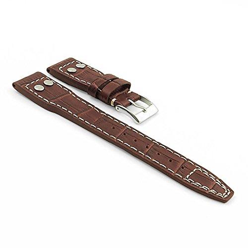 dassari-aviator-bande-de-rechange-cuir-style-croco-pour-iwc-big-pilot-brun-fonce-couture-contrastant