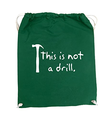 Comedy Bags - This is not a drill - HAMMER - Turnbeutel - 37x46cm - Farbe: Schwarz / Pink Grün / Weiss