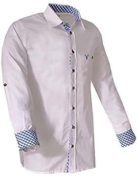 Trachtenhemd Klaus power loom weiß/blau langarm Lekra