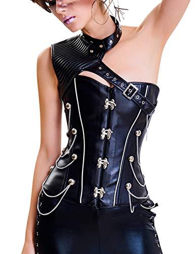 FeelinGirl Damen Korsett mit Stahlstäbchen - Brokatmuster - Retro/Gothic/Steampunk-Stahl ohne Knochen, Schwarz 40074, M(EU 36)