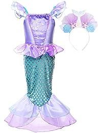 JerrisApparel Niñas Princesa Sirena Vestido Navidad Traje Fiesta Cumpleaños Disfraz