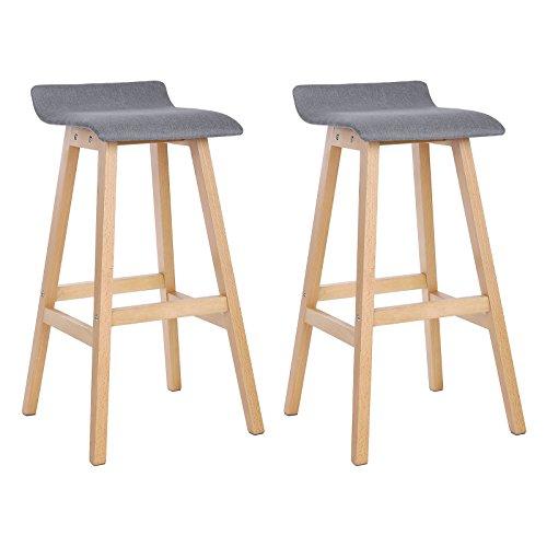 Songmics set di 2 sgabelli da bar stabile, con gambe in legno massello e sedile imbottito di simil lino, altezza di 73 cm, elegante e confortevole, grigio e colore naturale, ljb21gy