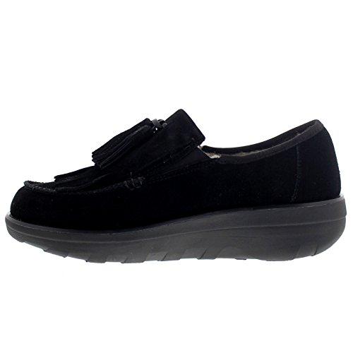 FitFlop Womens Tassel Fringe Loafer Suede Shoes Black