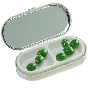 Boîte à pilules rectangulaire en chrome avec compartiment double et miroir