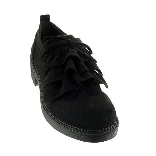 Angkorly Chaussure Mode Richelieu Plateforme Femme Noeud Talon Haut Bloc 4 CM Noir