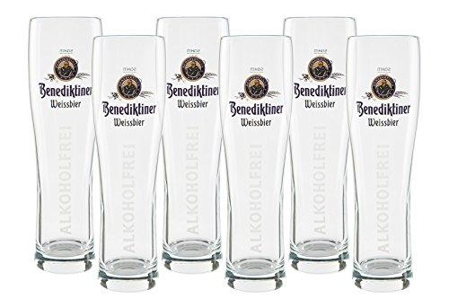 6 original Benediktiner Weissbier Gläser 0,5l Alkoholfrei