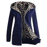 iHENGH Neujahrs Karnevalsaktion Damen Herbst Winter Bequem Mantel Lässig Mode Jacke Frauen Plus Samt Dicker Kapuzenpulli Leopard Zipper Coat Overcoat Outwear