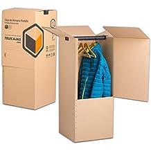 Cajas Armario Portátiles de cartón 50x50x100 cms Doble Pared con Puerta TeleCajas CARBAR5050100 (x2) Lote de 2 unidades
