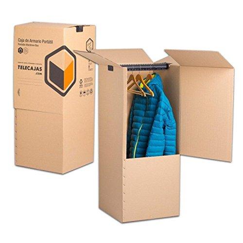 Pack de 2 Cajas Armario Portátiles de Cartón 50x50x100 cms Doble Pared....
