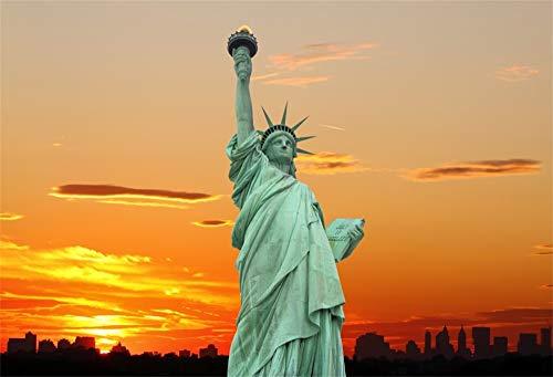 YongFoto 2,2x1,5m Vinyl Foto Hintergrund New York City Skyline und die Freiheitsstatue bei Sonnenuntergang Fotografie Hintergrund Fotostudio Hintergründe Requisiten