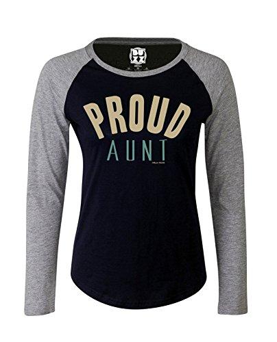Damen Raglan Baseball T Shirt Proud AUNT Auntie Slogan Mode von Buzz Shirts Oxford Navy/Heather Grey