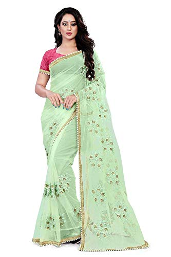 SilverStar Women\'s Embroidery Thread Work Full Net Green Color Saree With Banglori Silk Blouse Piece