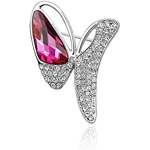 DEPOT TRESOR perno en forma de mariposa con cristales auténticos, SwarovskiElements Screw, color fucsia