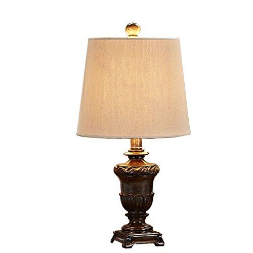 SMILR Amerikanische Retro luxuriöse Harz Tischlampe, Landschaft Schlafzimmer Möbel Tischlampe, Leinen Tuch Lampenschirm, Retro blau / Retro braun E27 ( Farbe : Braun ) (Möbel Amerikanische Antike)