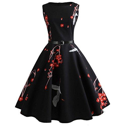 Neun Vintage Kleid, Yesmile 1950er Jahre Kleider Damen Schwarz Kappen Hülse Retro Vintage Sommerkleid Sexy Party Elegante Kleider KleidRundhals Abendkleid Prom Swing Kleid (XL, Schwarz-1)