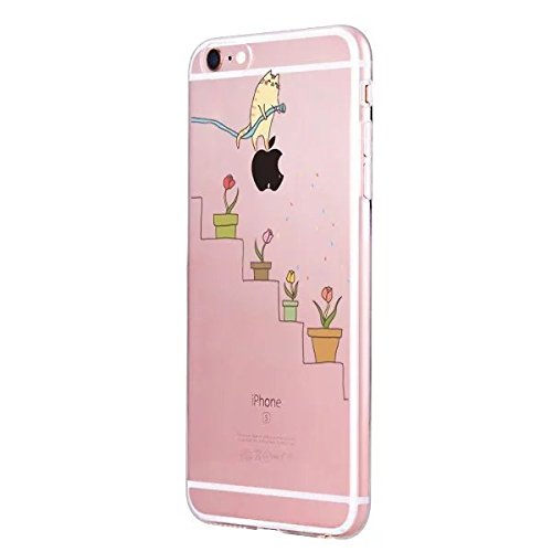 Sycode Custodia per iPhone 8,Cover per iPhone 8,Silicone Trasparente Case per iPhone 7,Liquido Cristallo Chiaro Carina Divertente Motivo Giallo Leone Morbida Flessibile Silicone Gel Anti Graffio Gomma Gatto Fiore