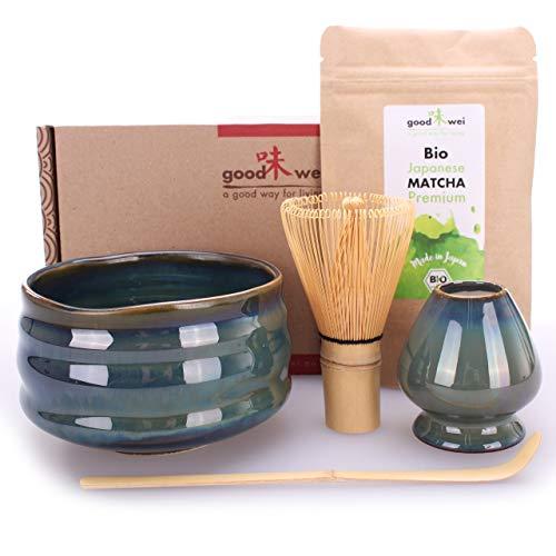 Teezeremonie-Set mit hochwertiger Matcha-Schale und echtem Bio Matcha aus Japan (Menouseki)