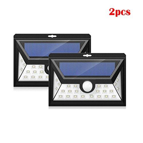 2/4Pack 24 LEDs Sensor Solarleuchten mit breiter Beleuchtungsfläche für Aussen, Neloodony Superhelle mit Bewegungsmelder Wasserdichte Solarleuchte Garten, Solarlampe für Wände, Auffahrt Innenhof,Hof,Flur,Veranda Von Jaminy (2)