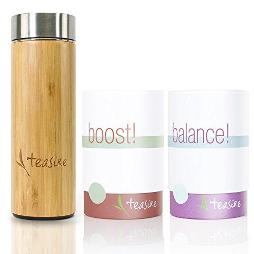 Teasire Soul Kur inkl. Bambus Thermobecher (300 ml) - Das leckere Kräutertee-Set für einen energiereichen Start am Morgen und Entspannung am Abend - vegan, 2x50g