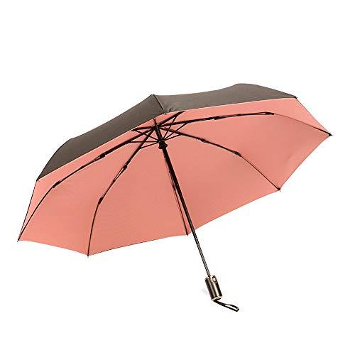 Regenschutz Outdoor Funktionstasche Regenfest Automatik-Taschenschirm Compact Parasol Mit 95% UV-Schutz für Sun Rain Double Canopy (Color : Rosa, Size : Kostenlos)