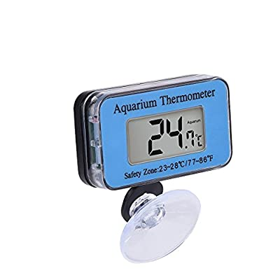 SupplyEU Waterproof Digital LCD Aquarium Thermometer Marine Vivarium Thermometer with the suction cup Temperature Range -10??C to 50 ??C Ideal for Fish Tank(Blue) : everything five pounds (or less!)
