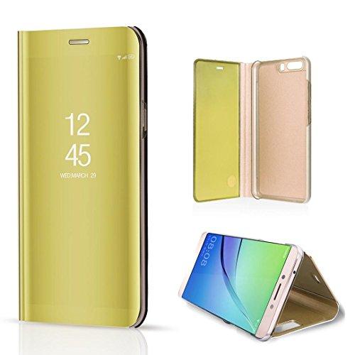 Tianranrt Huawei P10, miroir Plaqué Sleep Wake Up Flip Cuir Coque avec support intégré de béquille support pour téléphone portable