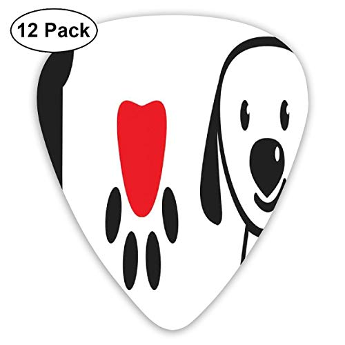 Guitar Picks 12-Pack,I Love Dog Message Showing Bone Pup Paw With Love Symbol And Cute Doggy Sweet Message