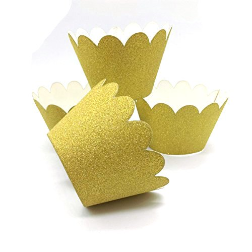 hemarty Cupcake Wrappers Rustikal Hochzeit Dekorationen, Konfetti Couture Party Supplies, Papier, gold, Middle Love Couture Spring