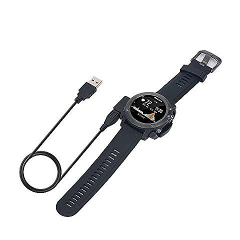 Garmin Fenix 3 HR Câble, Solid Support Noir Chargeur Et montre Smart Watch Câble avec fonction de données pour Garmin Fenix 3 HR