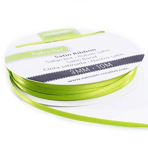 Vaessen Creative Doppelsatinband Apfelgrün, 3 mm x 10 Meter, Schleifenband, Dekoband, Geschenkband und Stoffband für Hochzeit, Taufe und Geburtstagsgeschenke