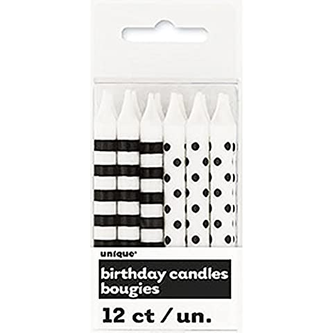 Unique Party Striped/Dots Party Candles (Pack Of 12) (One Size) (White/Black)