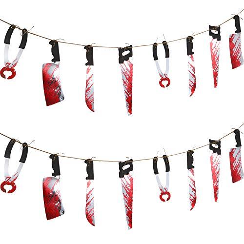 2 Stücke Gefälschte Folter Hängen Messer Blutige Garland Hängende Banner für Halloween Dekorationen Blut Party Dekoration (2 Packung)