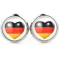 SCHMUCKZUCKER Ohrringe Fußball Deutschland Fanartikel Stecker für Damen und Herren - Flagge Herz - 2 Größen - Kreiert in Deutschland