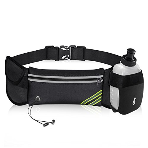 BeGreat Sport Hüfttasche, Trinkgürtel Laufgürtel mit 1 BPA-Frei Flaschen, Verstellbarer Gürtel für Smartphone bis 6 Zoll für Laufen, Wandern, Fahrradfahren, Reiten