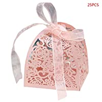 Wedding Favour Sweet Cake Gift Candy Boxes,25 Pcs Rose Flower Laser Cut Hollow Wedding Favour Box with Ribbon for Bridal Shower, Anniversary, Wedding Bombonniere,Party Favor,Pink